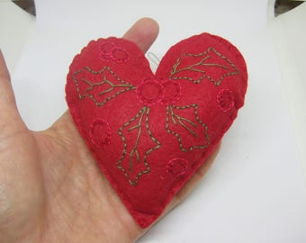 Red Felt Heart Christmas Ornament