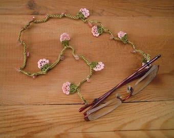 crochet eyeglass chain, pink flower, lanyard, chain for glasses