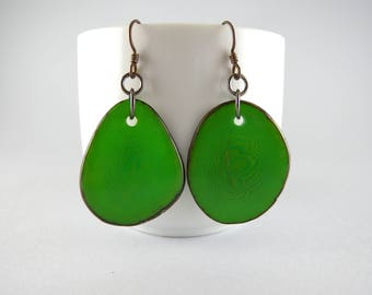 Kelly Green Tagua Nut Eco Friendly Yoga Accessories Earrings with Free USA Shipping #taguanut #ecofriendlyjewelry