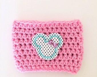 Polka Dot Rock the Dots Minnie Pink Blue Coffee Sleeve Drink Crochet Cozy Cozies