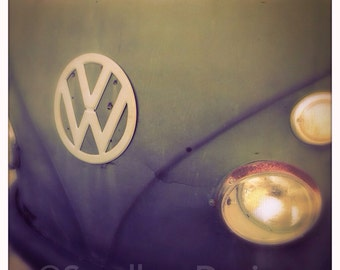 4 x 4 photo card-Faded black VW bus