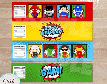 Superhero Bottle Water Labels, Super hero, Superheroes Water Labels,  wrappers, Birthday party decorations, Party supplies, INSTANT DOWNLOAD