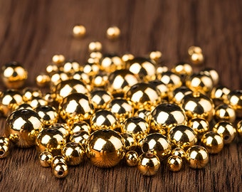 100 of 24k Gold Plated Smooth Round Beads, beading supplies (SB006)