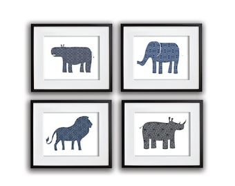 Set of 4 Safari Animal Prints in Blues and Grays 8x10, 11x14, 13x19