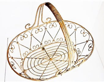 Metal basket champagne hearts rustic wire basket