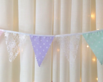 """Mini lace Bunting Choose your colours paste polka dot mint pink peach blue lilac 4"""" flags from 1 metre, for weddings, bridal & baby showers"""