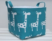 Fabric Organizer Bin Toy Storage Container Basket -  Gisella Giraffe Fabric - 8 inches x 8 inches x 8 inches
