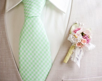 Necktie, Mens Necktie, Neck Tie, Groomsmen Necktie, Ties, Tie, Wedding Neckties, Mint Necktie, Gingham Necktie, Ties - Mint Green Gingham