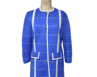 vintage 1960's knit jacket / Marco Polo / blue white / stripes / tunic jacket / virgin acrylic / women's vintage jacket / size 14