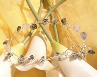 Sterling silver and quartz crocheted wire bracelet