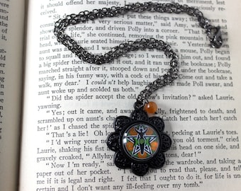 Goddess Pentacle Cabochon Black Necklace with Agate Bead - Victorian Vintage Style Witchy Witchcraft Wicca Pagan