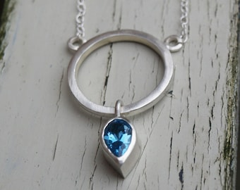 Blue topaz pendant, blue topaz necklace