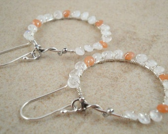 Hoop earrings with rainbow and peach moonstone in sterling silver.  Boho design. ON SALE NOW