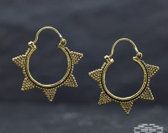 Brass hoop earrings, tribal earrings, gypsy earrings, brass earrings, tribal jewelry