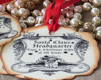 Santa Claus Headquarter, Toys and Christmas Gifts of All Kinds Tags, Gift Tags, Favor Tags, Vintage Tags, Christmas Tags, Set of 8.