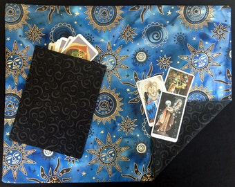 Tarot Cloth. Viking Festoon Jewely Cloth. CELESTIAL RAVEN. Extra Large  (21x25) Reversible spread cloth for tarot cards, runes & altars.