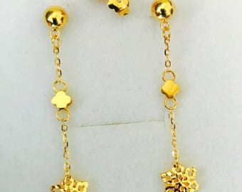 Designer snow flakes dangling earrings Solid 22k gold earstuds earrings 916 gold
