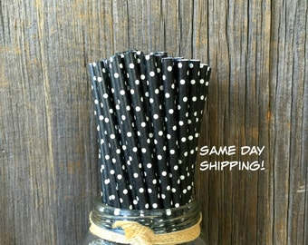 100 Black with White Dot Straws, Party Supply, Cake Pop Sticks, Free Shipping!