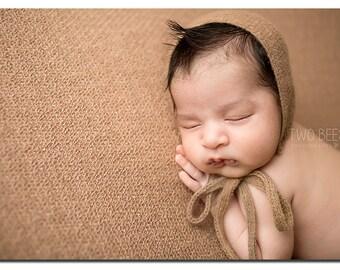 NEWBORN BABY BONNET, knit baby bonnet, ivory, brown, gray, newborn, lace trim, handmade, baby photo prop,  photography prop, baby photo prop