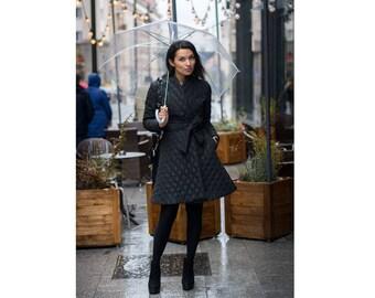 Quilted coat, Designer coat, Black coat,  Women's Clothing , Puffer coat, Waterproof coat, Winter coat, Casual coat, Belted coat, Jacket