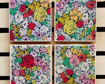 Shabby chic floral coaster set