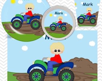 ATV 4-Wheeler Boy Truck Plate, Bowl, Cup, Placemat - Personalized ATV Truck Dinnerware for Kids - Custom Tableware