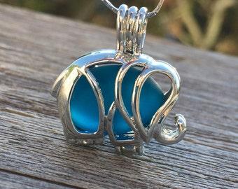 Teal Sea Glass Elephant Locket Necklace Deep Dark Beach by WaveofLife