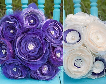 Jilliann's Deep  PURPLEand LAVENDER FEATHER Bouquet