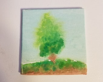 Pine Tree Miniature Watercolor Painting