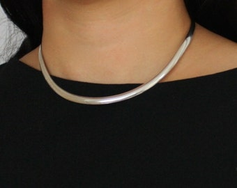 STERLING SILVER CHOKER vintage minimalist necklace 1970s