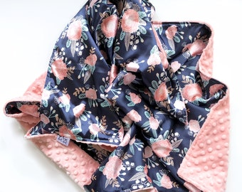 SATIN CRIB - Camilla - Baby girl stroller silk minky blanket watercolor floral blush pink mint navy flowers ready to ship shower gift modern