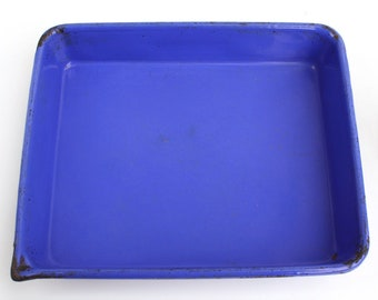 c 1939 Blue Glassteel Enamelware Developing Tray, Acid-Resistant Porcelain Enamel over Steel, Columbian Enameling & Stamping