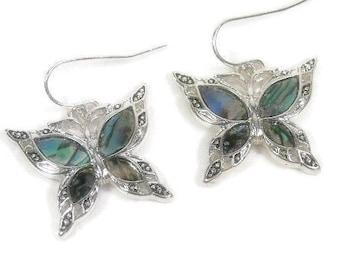 Butterfly Earrings - Abalone Butterfly Dangle Earrings - Insect Earrings - Butterfly Jewelry - Symbolic Butterfly - Bug Jewelry - Dragonfly