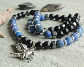 Lapis Lazuli Black Onyx Obsidian Hematite Beaded Necklace for Men, Sterling Silver Eagle Pendant, Men's Jewelry gift for Guys Dad Him, 4617