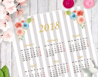 Printable calendar 2018 with watercolor flowers and gold sparkly letters