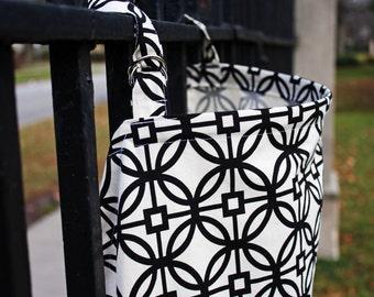 Elegant Black and White Geometric Pattern Nursing Cover. 100% Cotton. (Breastfeeding Cover)