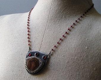 Agua Nueva Agate Sterling Silver Fleur de Lis Long Necklace w/Pink Rhodolite Garnet & Beaded Chain