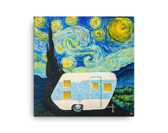 Starry, Starry Night Vintage Trailer on 12x12 Canvas