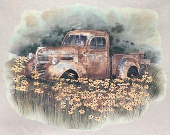 Old Pickup Truck in field of flowers t shirt