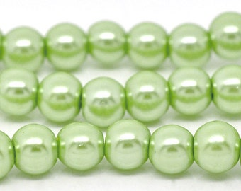 Sale! 5 Strands - 8mm Pastel Light Green Glass Pearl Imitation Round Beads - 32 inch strand