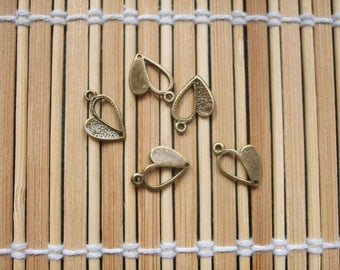 5 charm bronze metal hearts