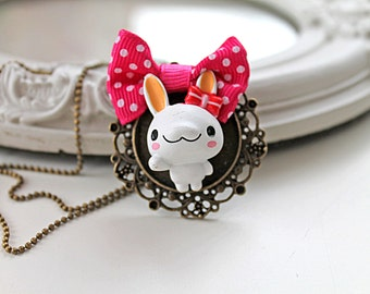 Bunny girl Necklace kawaii lolita  rabbit cute animal egl pink white