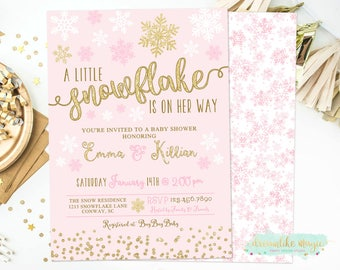 Winter Baby Shower Invitations, A Little Snowflake Is On Her Way, Snowflake Baby Shower Invitation, Printable Shower Invite, Printed Invites