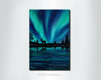 Aurora borealis Christmas painting Northern lights painting Oil painting on canvas Gift for him Deer painting Starry night Sky Holidays gift