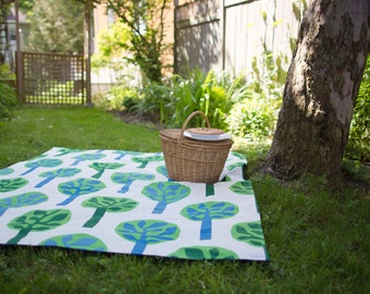 As Seen in Style At Home Magazine - Eco Friendly PICNIC BLANKET-  Modern Green Forest Trees - Portable Outdoors Family Beach Blanket