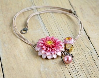 Pink floral necklace  Statement flower necklace Botanical jewelry  Necklace statement Jewelry bridesmaid Gift jewelry wedding Gift for her
