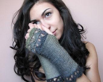Fingerless Gloves Knit Arm Warmers Womens Fingerless Mittens Crochet Elegant Gloves Green Wrist Warmers Hand Knit Gloves Fashion Womens Gift