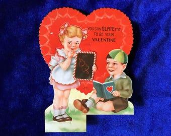 1930's Valentine Chalk Slate Children Die Cut Card Beautiful!
