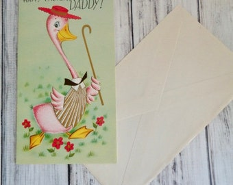 Vintage Easter Card For Father,  Happy Easter Daddy, Duck or Goose With Hat and Cane, Unsigned Unused Vintage Easter Card, Father Dad Card