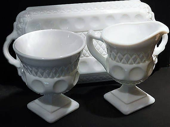 Milk Glass Sugar Creamer Set